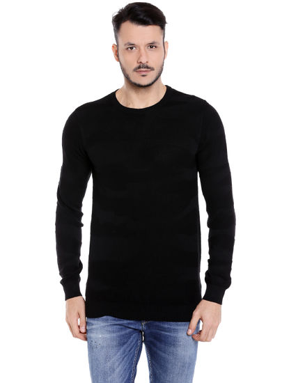 Black Crew Neck Knit T-Shirt