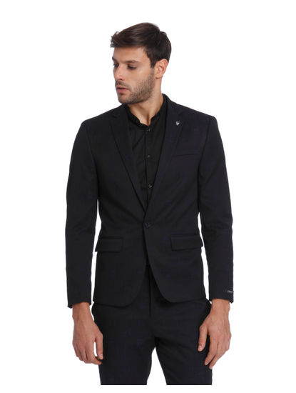 Dark Blue Textured Slim Fit Blazer