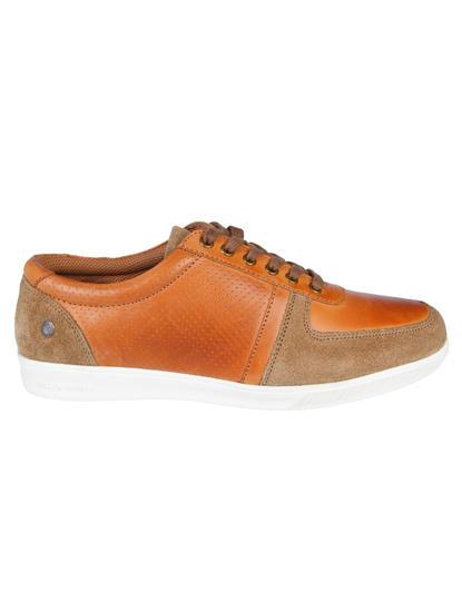 Tan & Brown Leather Sneakers