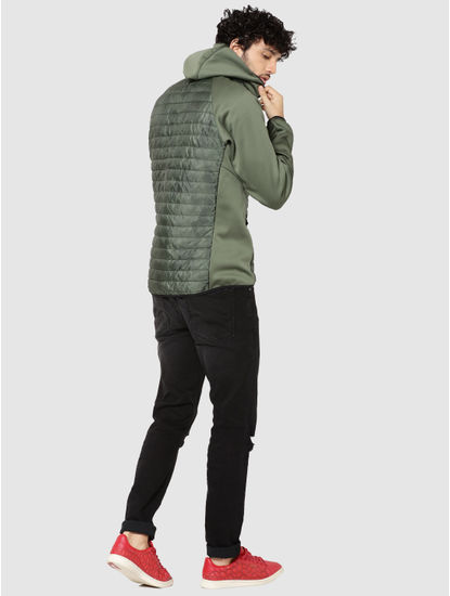 Green Camo Print Hooded Bomber Jacket