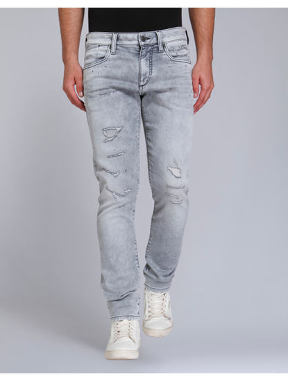 Grey Distressed Slim Fit Jeans