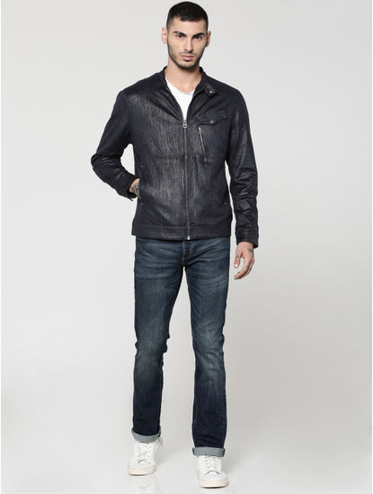 Dark Blue Textured Suede Biker Jacket