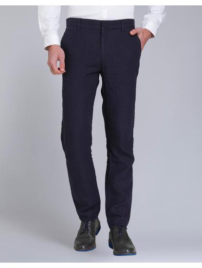 Dark Blue Regular Fit Linen Pants