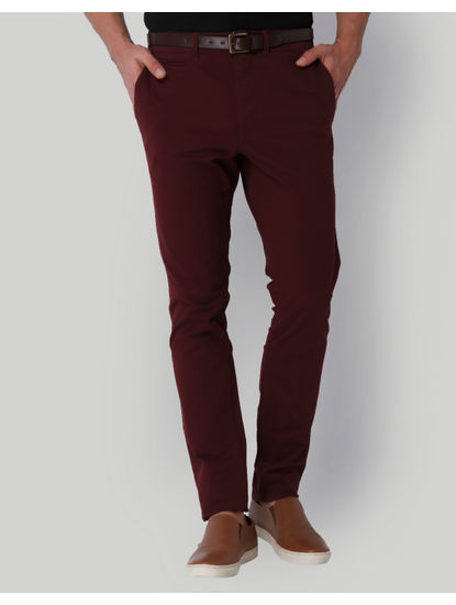 Burgundy Mid Rise Slim Fit Pants