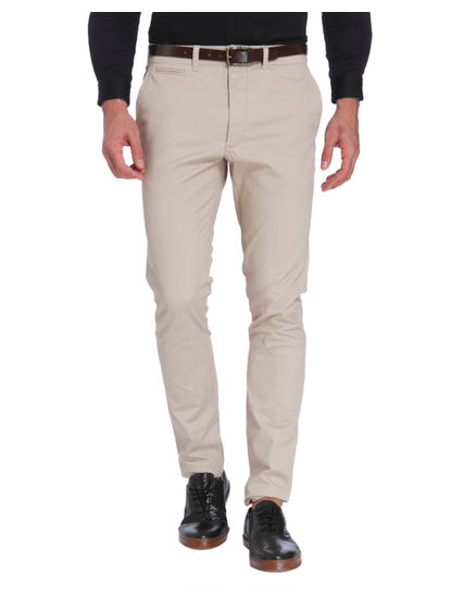Cream Slim Fit Trousers