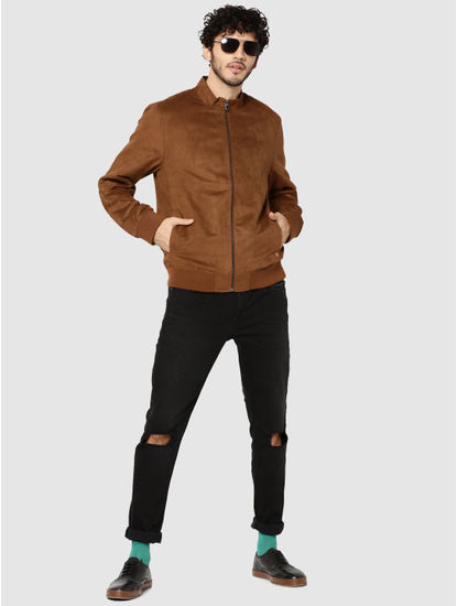 Brown Suede Bomber Jacket