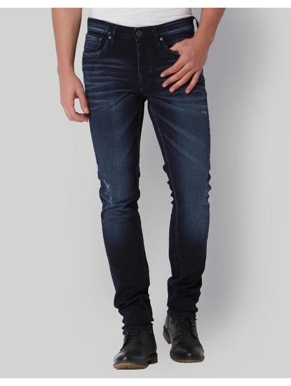Blue Mild Distressed Low Rise Slim Fit Jeans