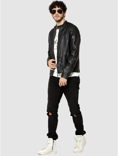 Black Leather Zip Detail Jacket