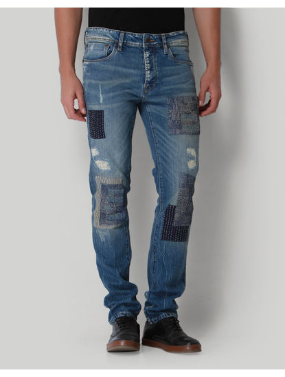 Blue Distressed Low Rise Jeans
