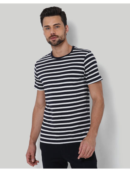 Black Striped Crew Neck T-Shirt