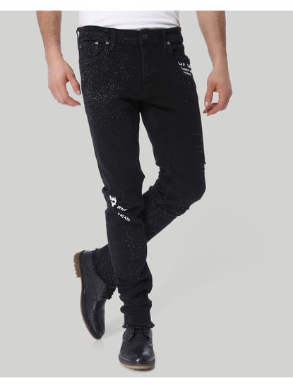 Black Text Print Low Rise Skinny Fit Jeans