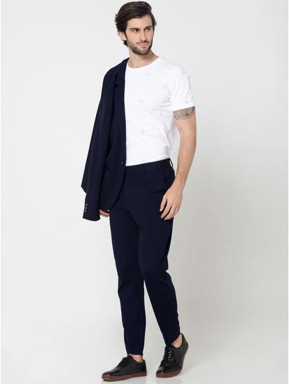 Dark Blue Slim Fit Cropped Trousers