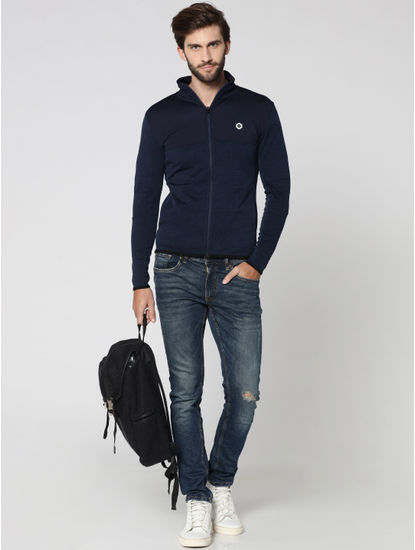 Dark Blue Cut Out Print Hooded Jacket