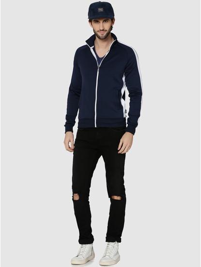 Dark Blue Striped Raglan Sleeves Sweatshirt