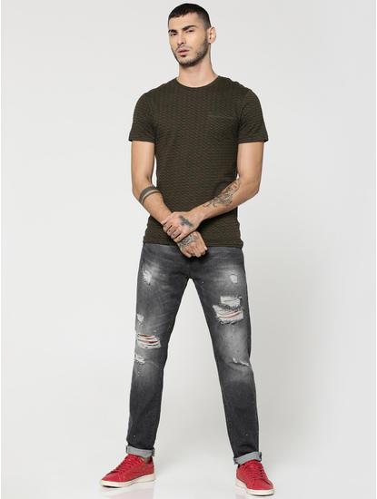 Black Highly Distressed Erik Anti- Fit Jeans