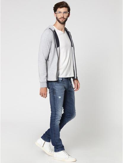Grey Mesh Detail Zip Up Hooded Sweat Jacket