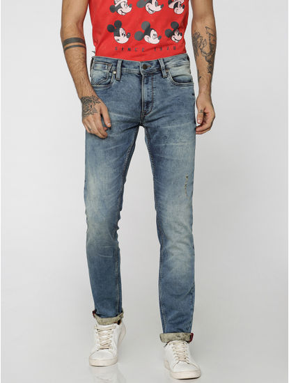 Blue Distressed Ben Skinny Fit Jeans