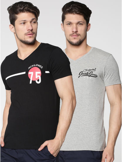 Pack of Two Text Print Crew Neck T-shirts