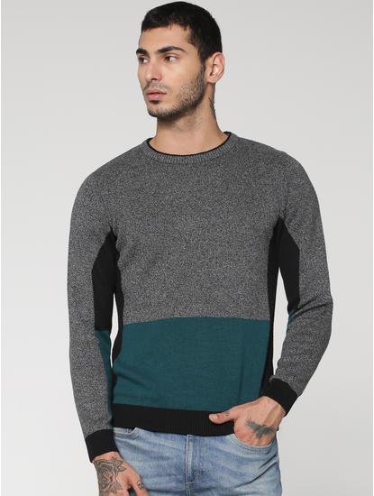 Black Colour Blocked Crew Neck Sweatshirt