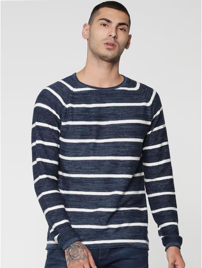Blue Stripes Raglan Sleeves Crew Neck Sweatshirt