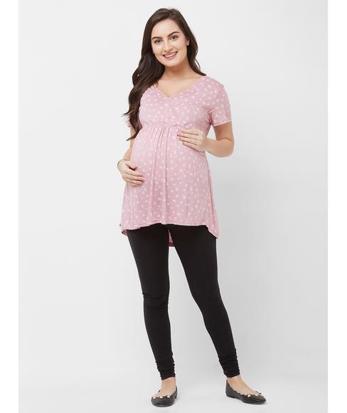 Maternity Printed Leaves Top