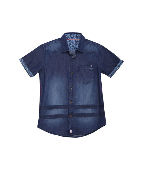 BOYS DENIM LIGHT WASH FULL SLEEVE SHIRT