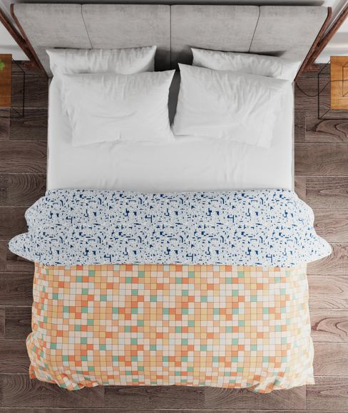 Portico New York Hashtag Collection - Multi-Coloured Checkered Print King Size Comforter (100% Cotton, Reversible)