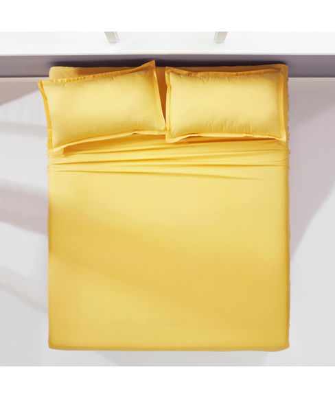 Percale Gold Sand Fitted Sheet Double Size