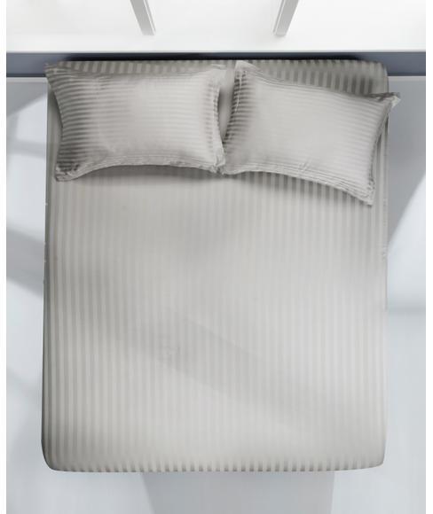 Satin Stripe Grey Bedsheet Super King Size
