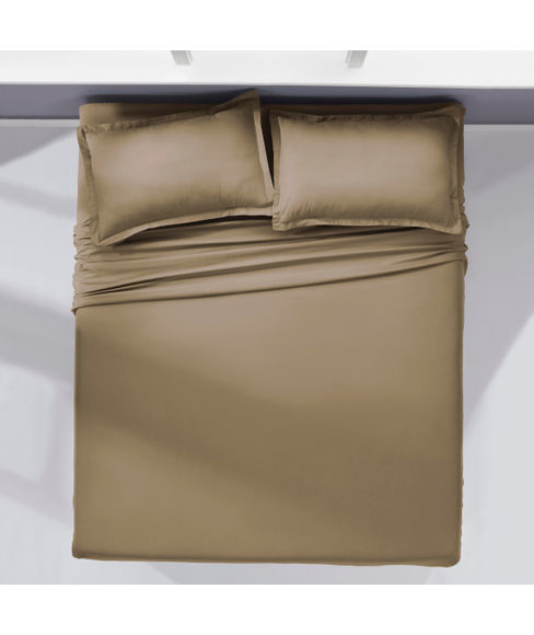 Percale Oatmeal Bedsheet Super King Size