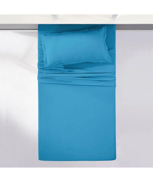 Percale Peacock Blue Bedsheet Single Size