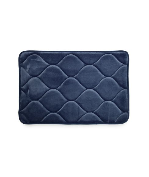 Quilted Ink Blue Bath Mat Large Size