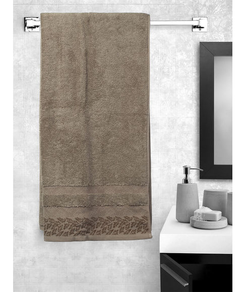 Ariana Jacquard Bark Brown Bath Towel
