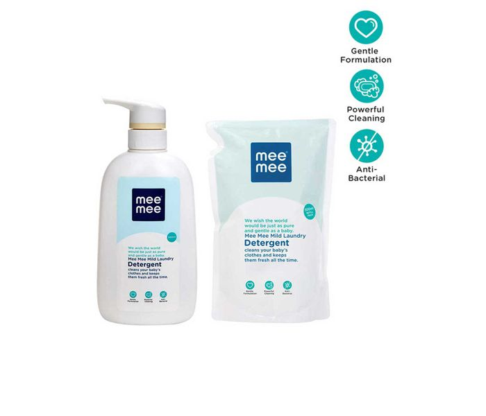 Mee Mee Mild Baby Liquid Laundry Detergent Bottle (500ml) with Refill Pack (500ml)