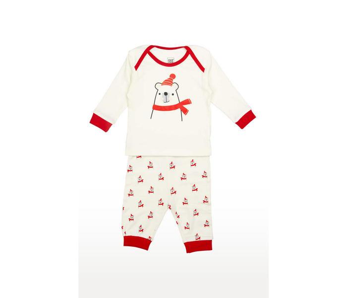 Mee Mee Full Sleeve Unisex Bear Print Night Suit (White)