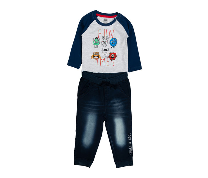 MEE MEE BOYS FULL SLEEVE T-SHIRT WITH KNIT PANT SET