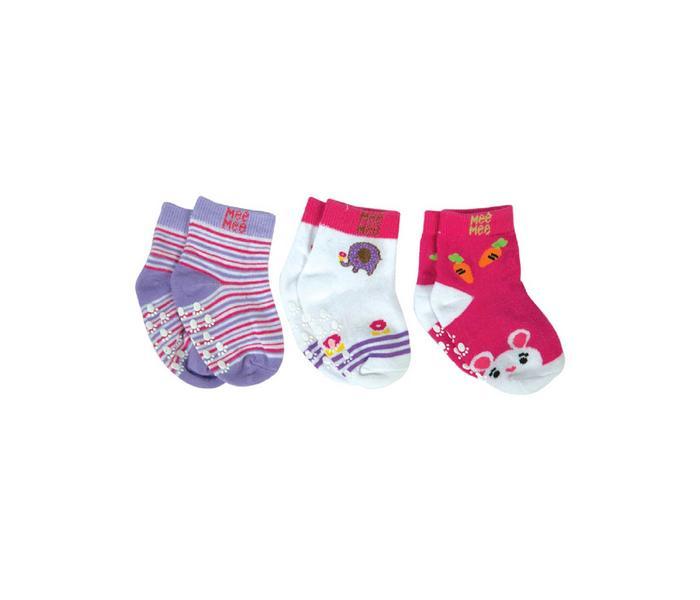 Mee Mee Cozy Feet Anti-Skid Baby Socks (Pack of 3) (Colours May Vary)