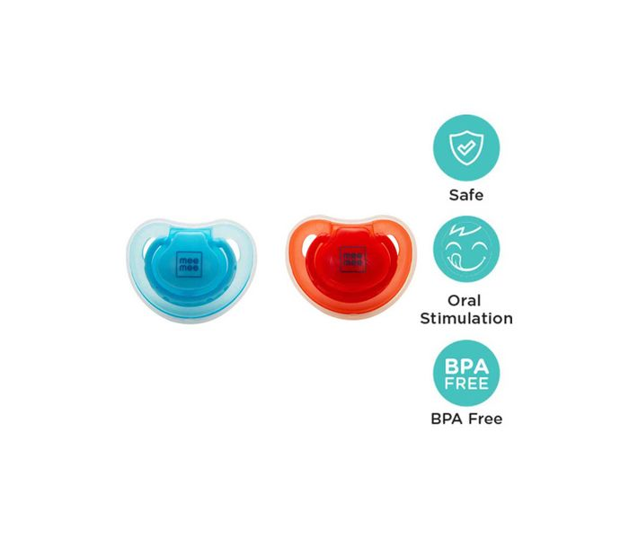 Mee Mee Soft Nipple Baby Pacifier (Red/Blue)