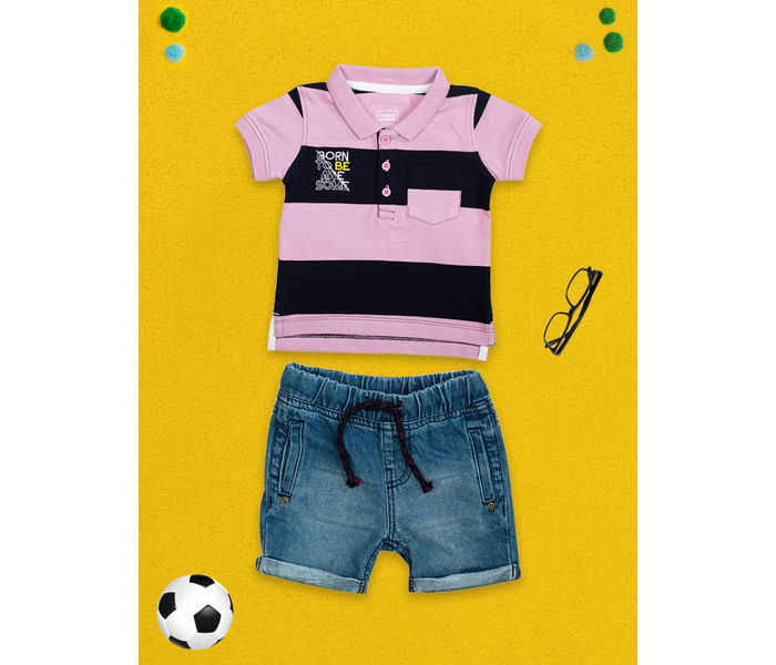 Mee Mee Kids Stripes Tee & Denim Wash Shorts Set