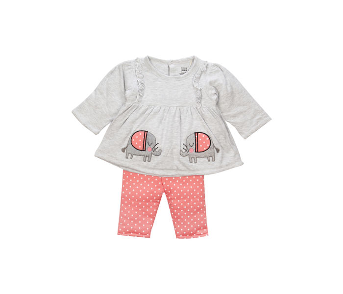 Mee Mee Full Sleeve Girls Leggings Set (Grey Melange_Coral)