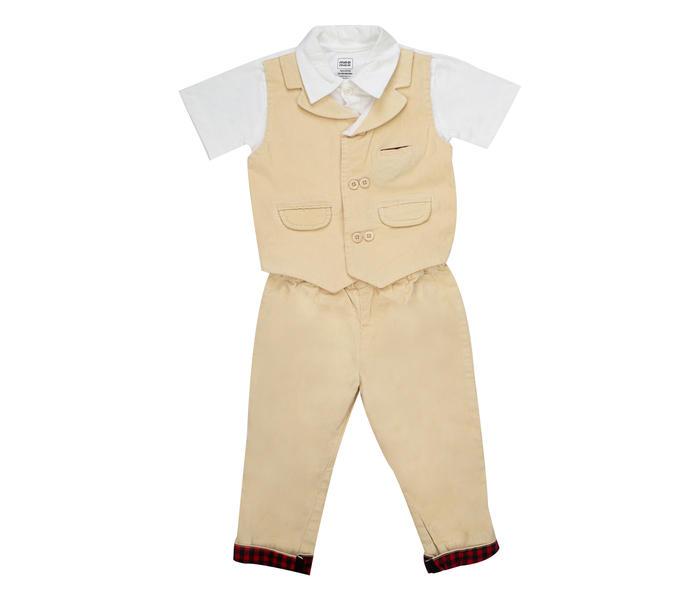Mee Mee Boys Half Sleeve Bodysuit & Full Pant Set (Beige White)