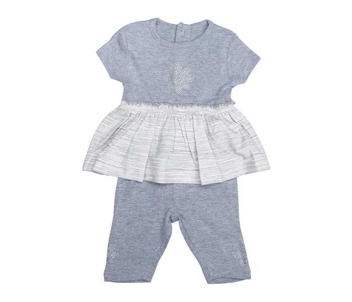 Mee Mee Half Sleeve Girls Grey Stripe Frock With Leggngs Set (Grey_Melange)