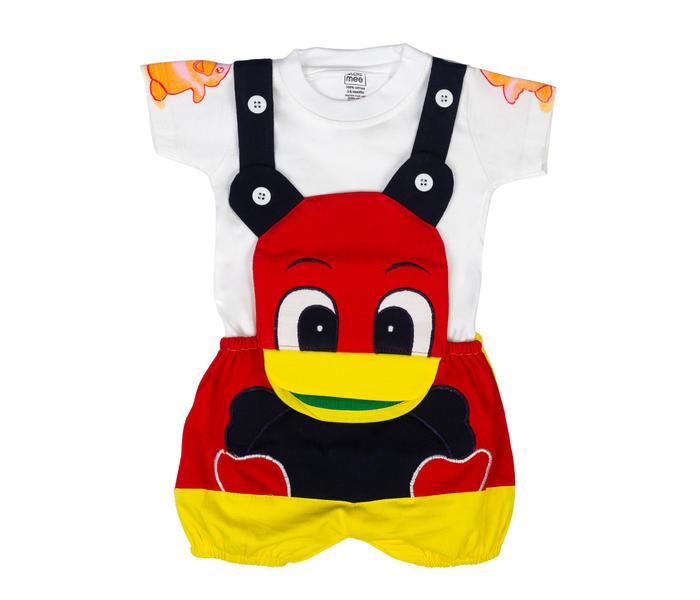 Mee Mee Short Sleeve Tee Cute Duck Dungaree Set