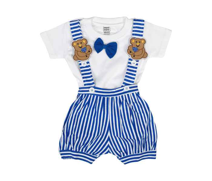 Mee Mee Short Sleeve Tee Striped Dungaree Set With Bow