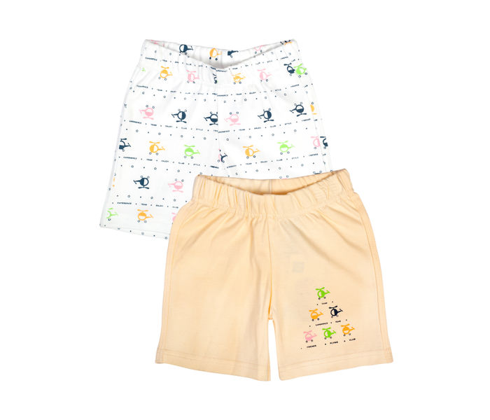 Mee Mee Baby White & Peach Helicopter Print Shorts - Pack Of 2