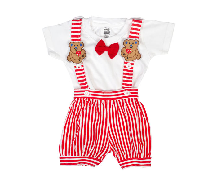 Mee Mee Short Sleeve Tee Vertical Striped Dungaree Set With Bow