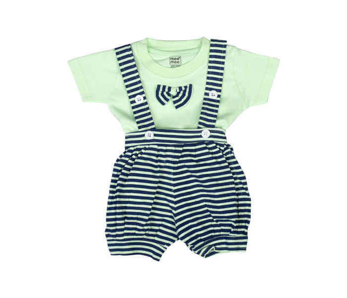 Mee Mee Short Sleeve Tee Horizontal Striped Dungaree Set With Bow