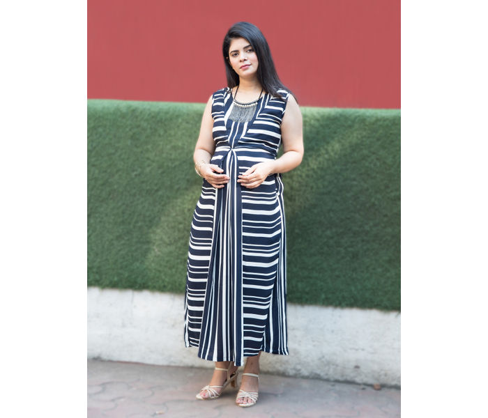 Mee Mee Fashionable Maternity Dress With Feeding Zip ? Navy Blue And White
