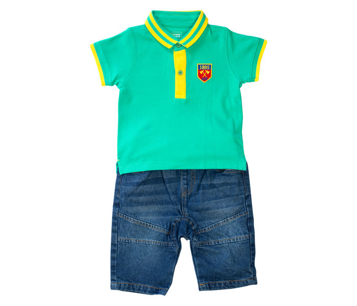 Mee Mee Kids Sea Green Polo Tee With Bermuda Pants