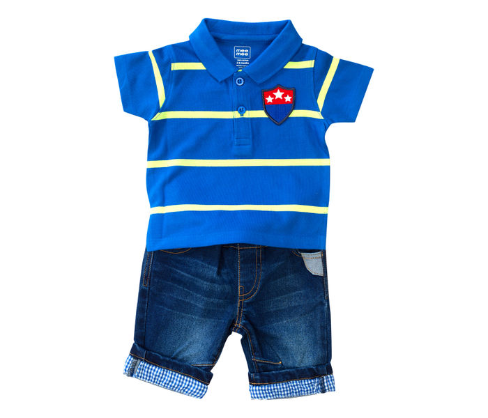 Mee Mee Kids Blue Stripes Tee With Bermuda Pants